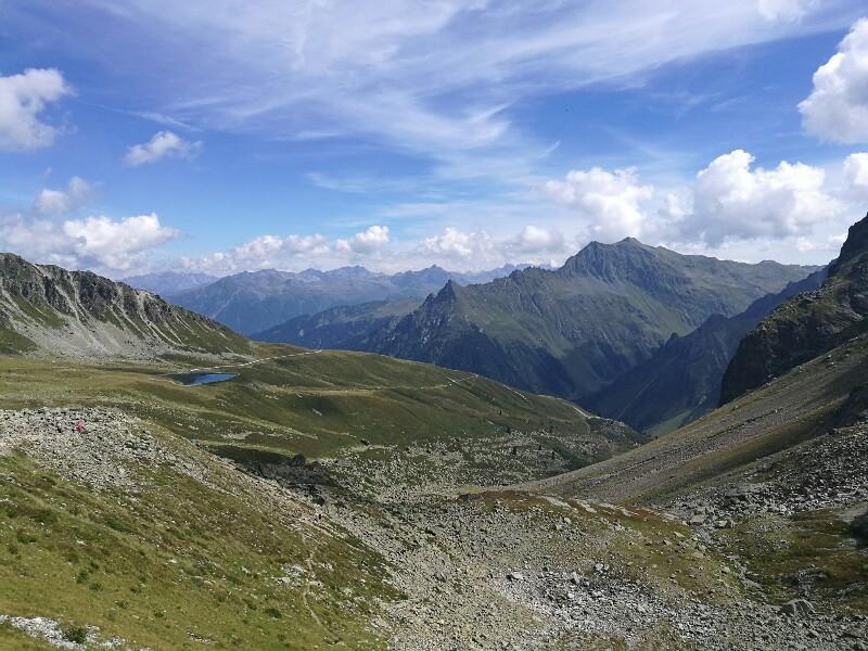 Aufstieg zum Gafierjöchle - Der Schafbergteich ist noch zu sehen