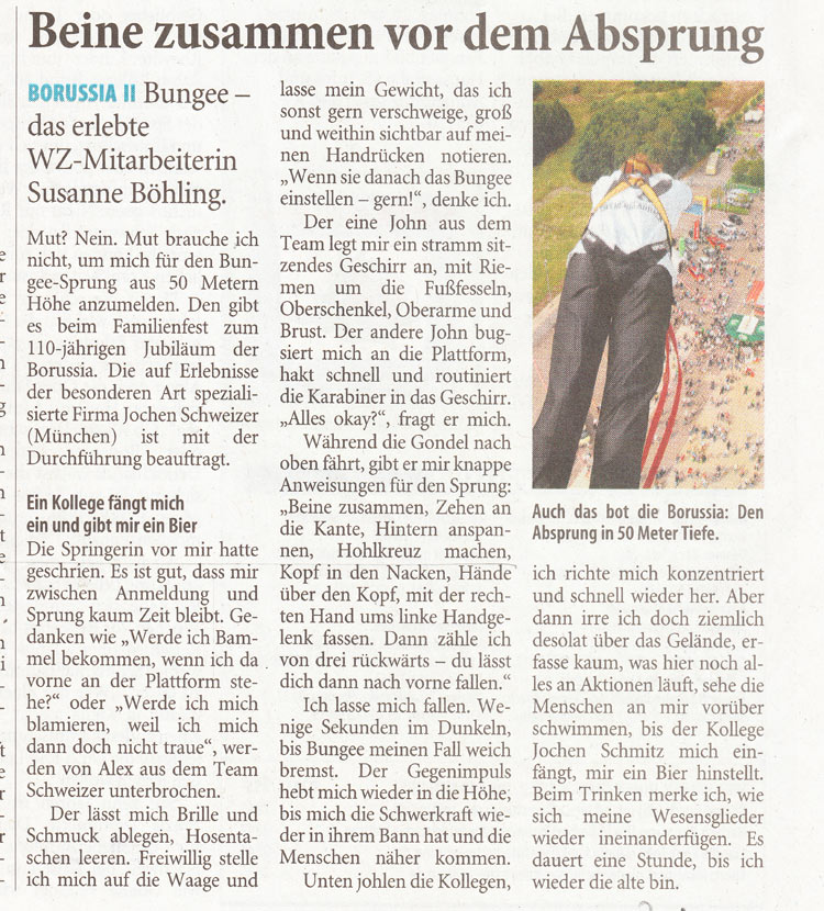 Mein Bungee-Sprung in der Zeitung