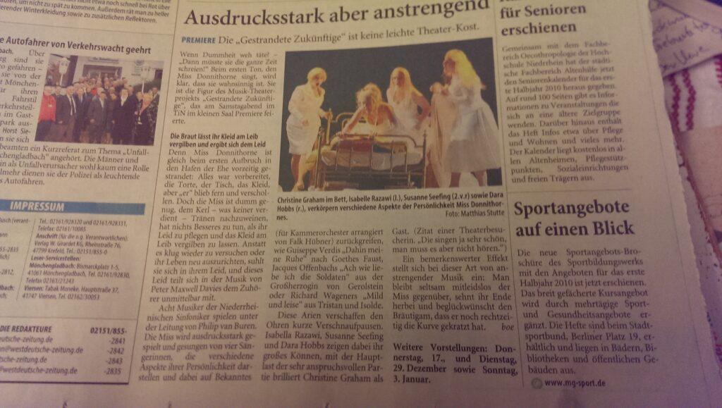 Eine typische Kritik einer Aufführung in Theater Mönchengladbach - Rheydt